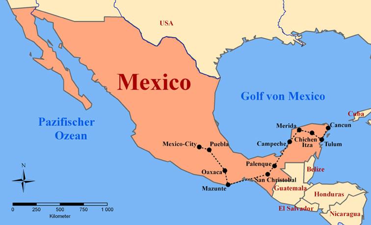 Mexiko Karte Welt.Karte Mexiko Cancun Kleve Landkarte